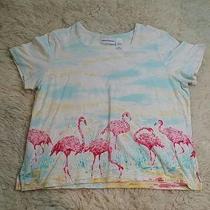 Alfred Dunner Flamingo Rhinestone Shirt Size Large